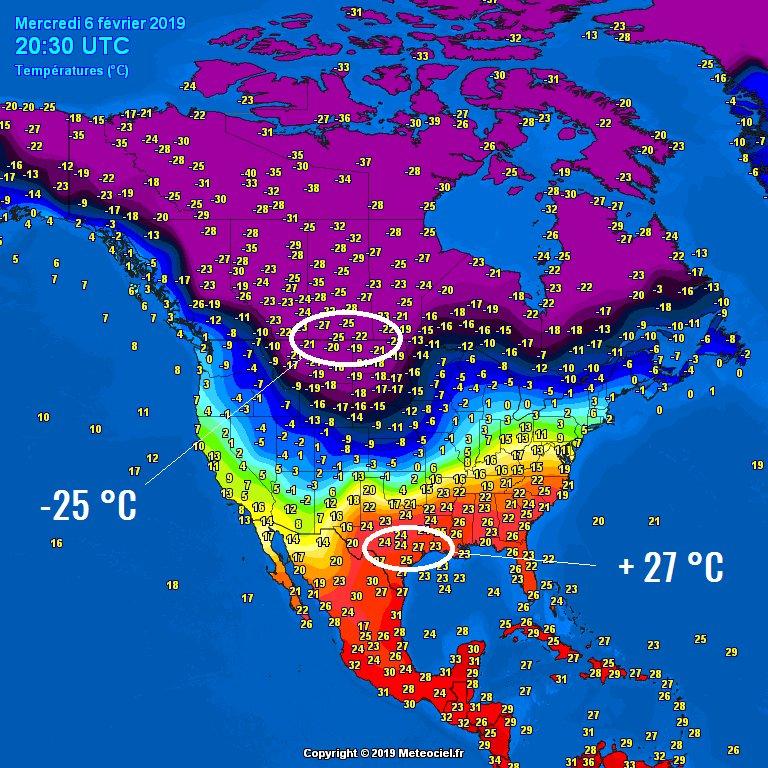 Az USA hőmérsékleti eloszlása február 6-án, este 20:30-kor (Fotó: Meteociel.fr)