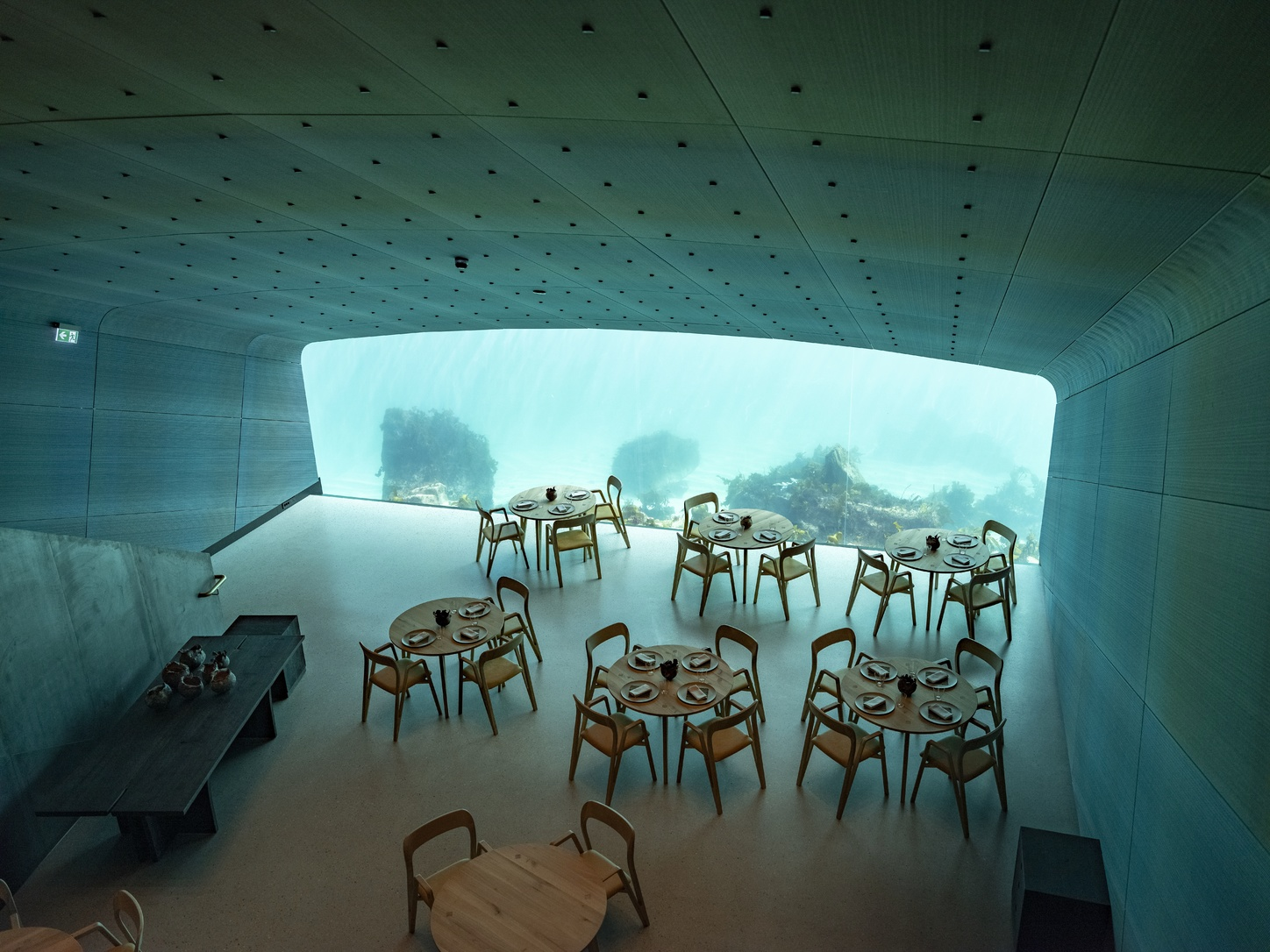epa07449689 Inerior pictures from restaurant named 'Under', semi-submerged beneath the waters of the North Atlantic in Lindesnes, some 400 km south west of Oslo, Norway, 19 March 2019. The restaurant is situated five and a half meters below seal level, and opens 21 March, 2019.  EPA/TOR ERIK SCHRODER NORWAY OUT
