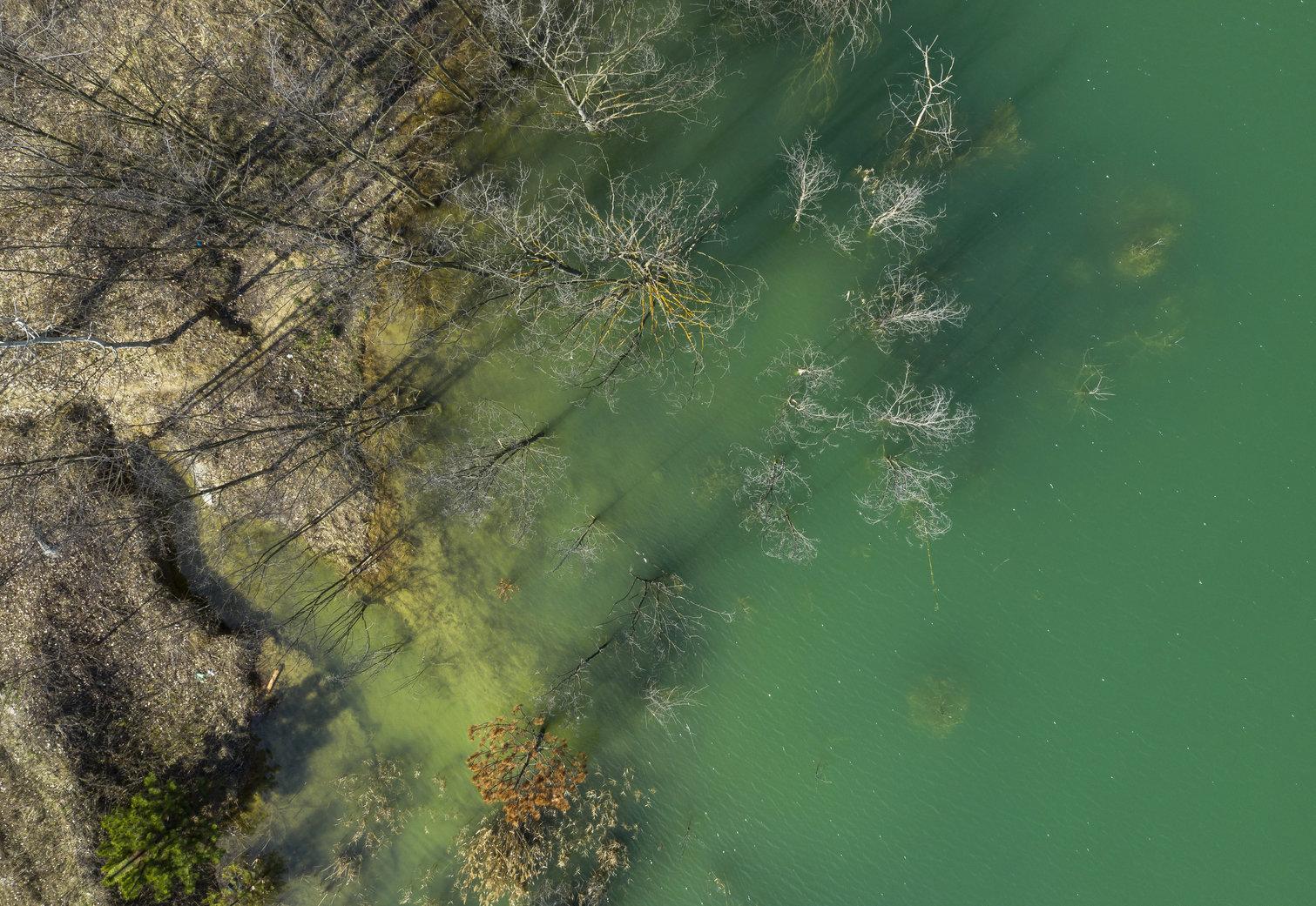 Solymár, 2019. március 21. Bányató Solymár közelében 2019. március 21-én. Az ENSZ március 22-ét nyilvánította a víz világnapjává, amelynek célja a környezet és ezen belül a Föld vízkészletének védelme. MTI/Mohai Balázs