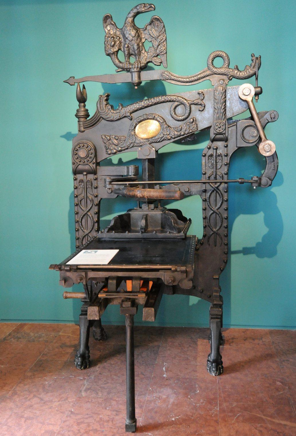 Angol gyártmányú, 1830-ban készített Columbia gyártmányú sajtó Landerer és Heckenast nyomdájából (Fotó: MTI/Manek Attila)