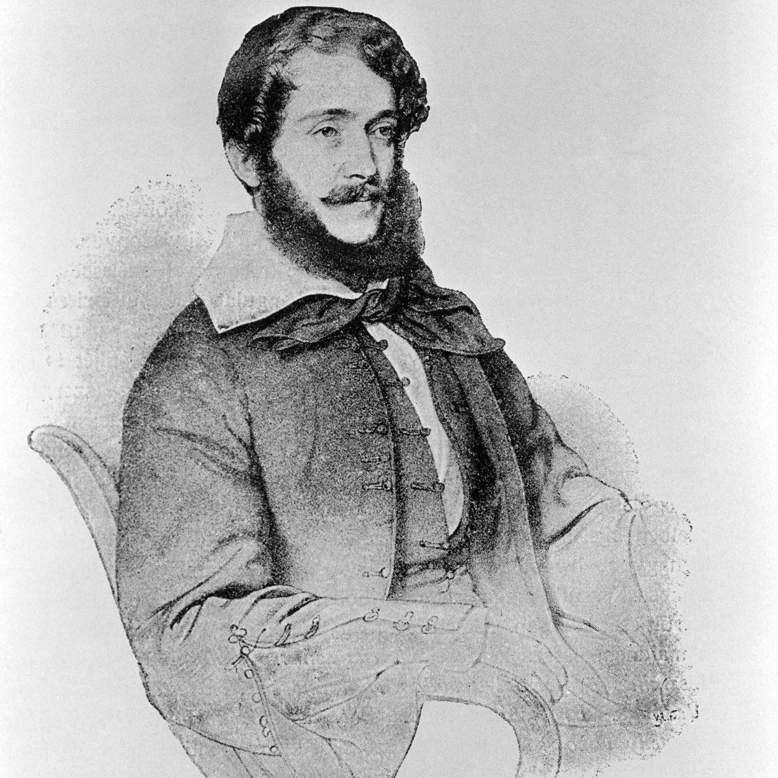Reprodukció Kossuth Lajos 1843-as, Eybl kőnyomata után készült portréjáról (Fotó: MTI)