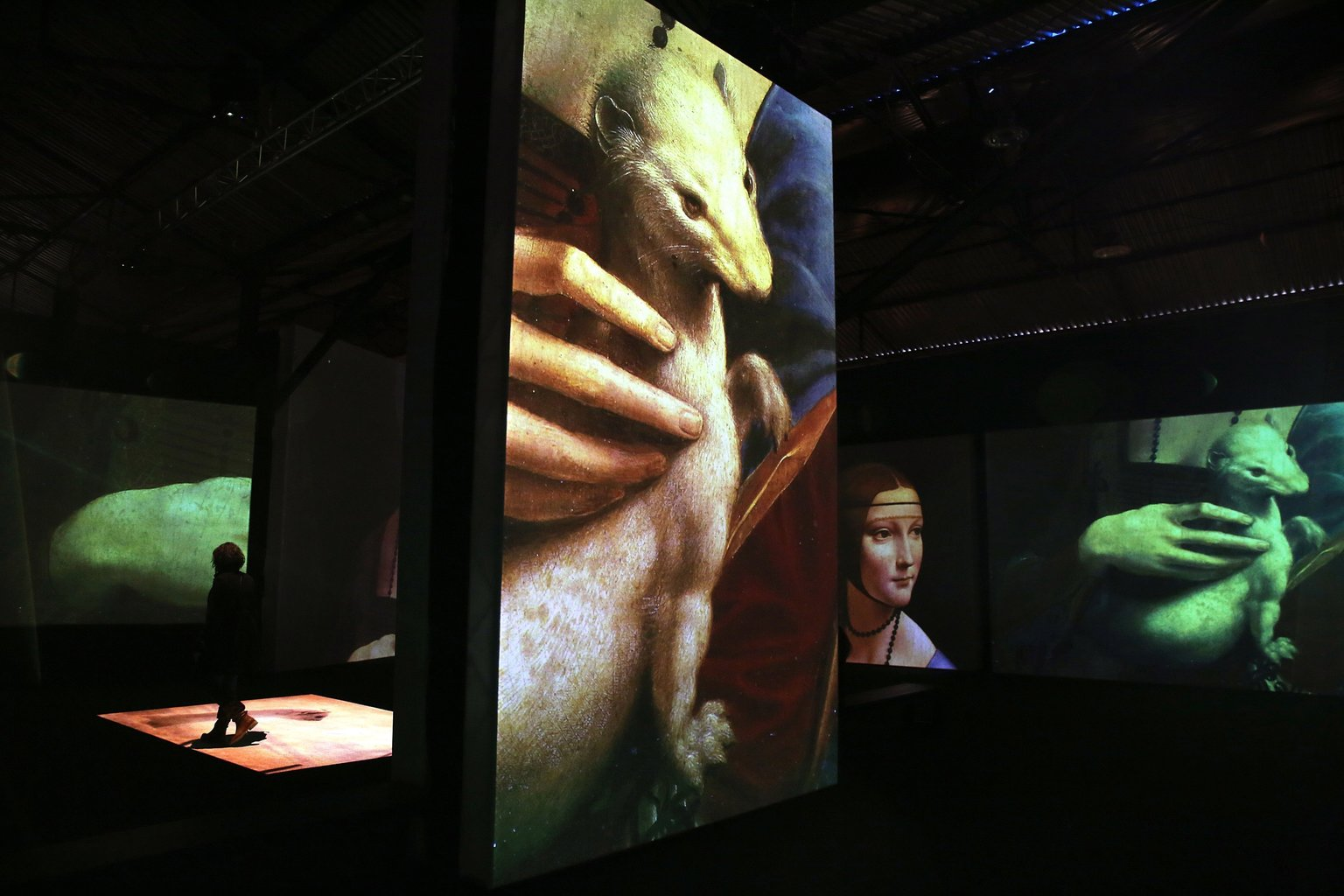 Athén, 2018. december 3. Látogató a Leonardo da Vinci halálának közelgő 500. évfordulója alkalmából nyílt Leonardo Da Vinci - 500 Years of Genius című kiállításon Athénban 2018. december 2-án. A nagyszabású digitális művészeti kiállításon videoprojektoros vetítéssel, térbeli hangosítás mellett mutatják be a polihisztor Da Vinci életét, találmányait és művészeti alkotásait. A különleges élményt és látványt multimédiás eszközök biztosítják a tárlaton. MTI/EPA/ANA-MPA/Szimela Pancarci
