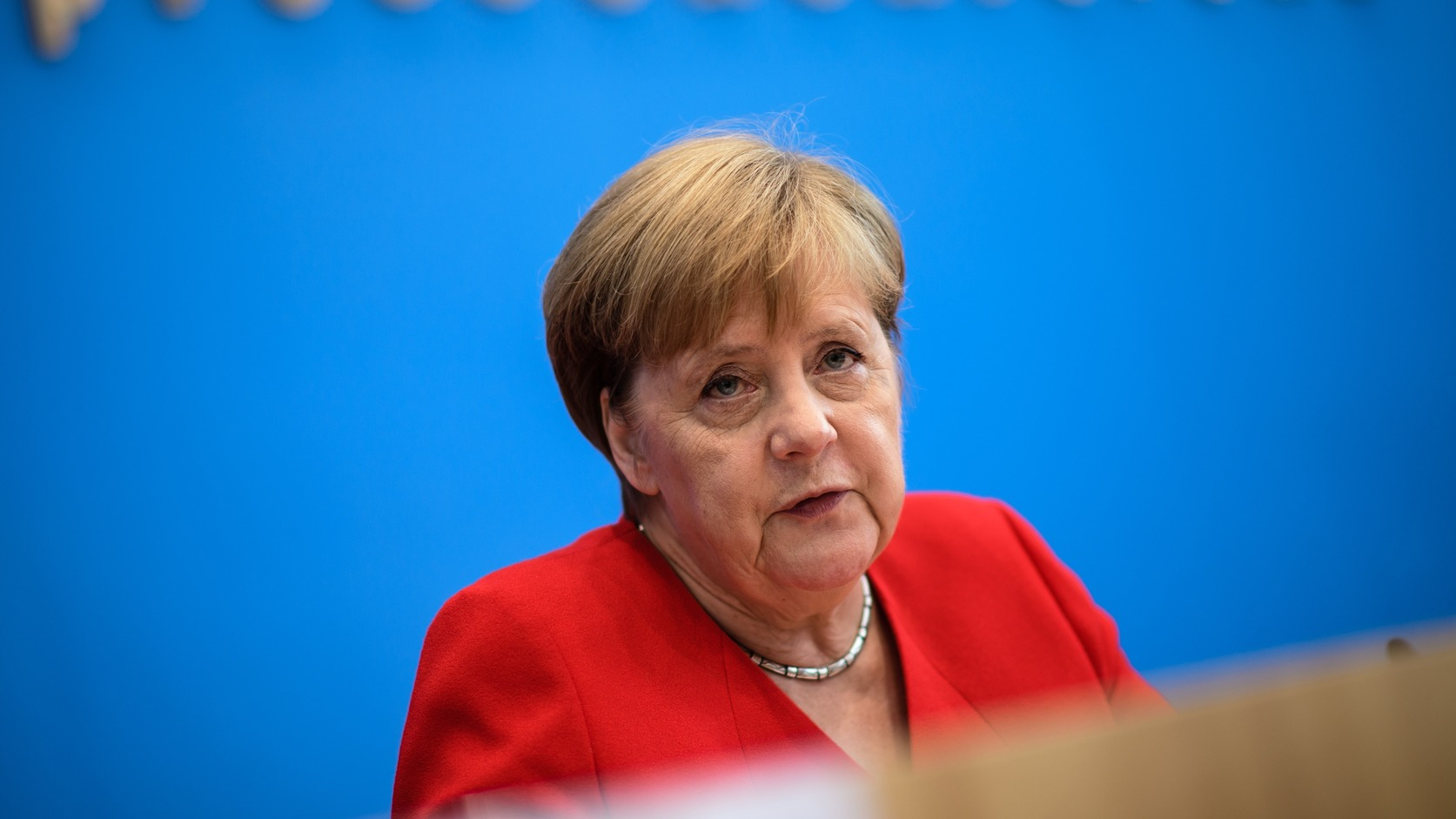 epa07726821 German Chancellor Angela Merkel gestures during her annual press conference at Bundespressekonferenz in Berlin, Germany, 19 July 2019. The traditional media briefing usually takes place during summer time.  EPA/CLEMENS BILAN
