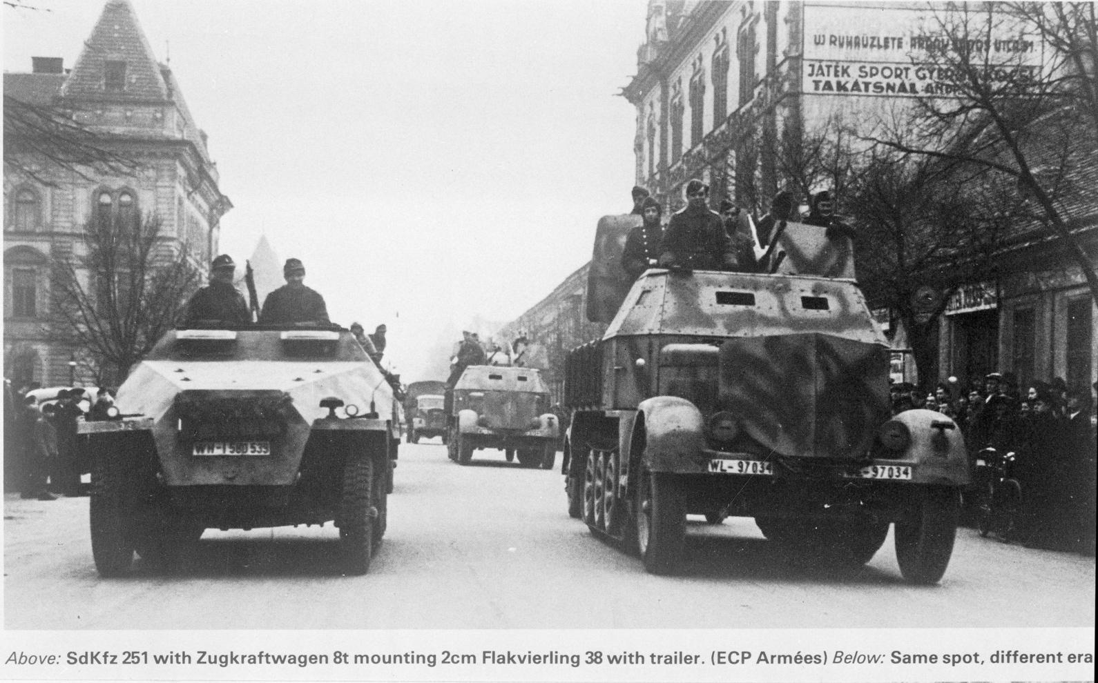 Német katonai járművek Budapesten. A felvétel készítésének pontos dátuma ismeretlen (Fotó:  MTI)