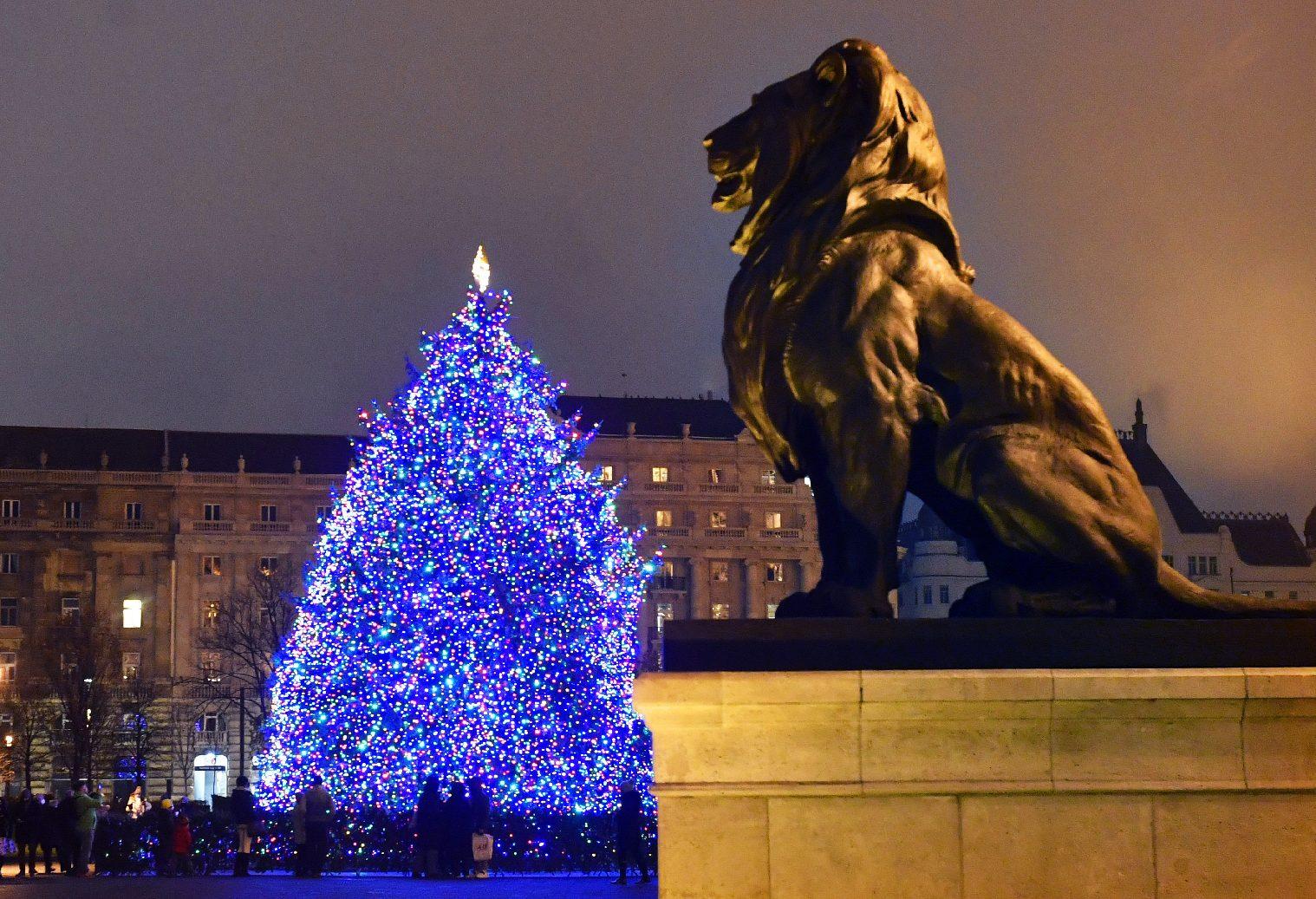 Az ország karácsonyfája díszkivilágításban a budapesti Kossuth téren 2020. november 28-án. MTI/Máthé Zoltán